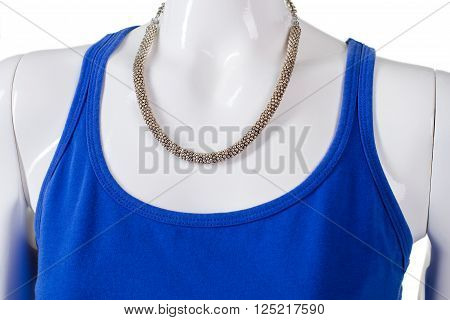 Blue u-neck top with necklace. Trendy bijouterie on mannequin's neck. New necklace at bijouterie shop. Young lady's light accessory.