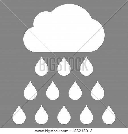 Rain Cloud vector icon. Rain Cloud icon symbol. Rain Cloud icon image. Rain Cloud icon picture. Rain Cloud pictogram. Flat white rain cloud icon. Isolated rain cloud icon graphic.