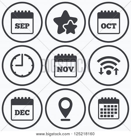 Clock, wifi and stars icons. Calendar icons. September, November, October and December month symbols. Date or event reminder sign. Calendar symbol.