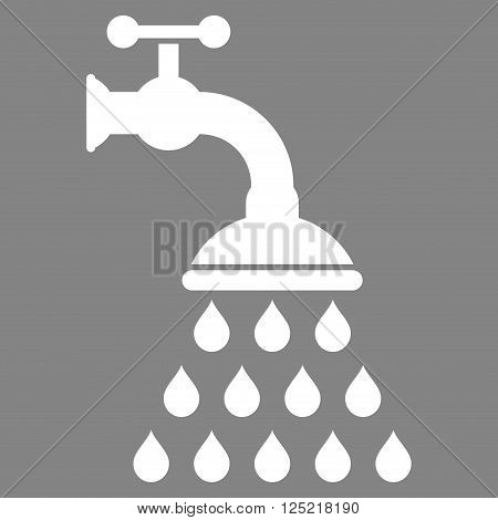 Shower Tap vector icon. Shower Tap icon symbol. Shower Tap icon image. Shower Tap icon picture. Shower Tap pictogram. Flat white shower tap icon. Isolated shower tap icon graphic.