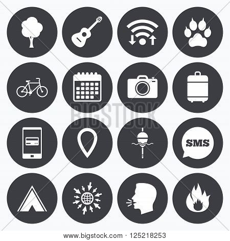 Wifi, calendar and mobile payments. Tourism, camping icons. Fishing, fire and bike signs. Guitar music, photo camera and paw with clutches. Sms speech bubble, go to web symbols.