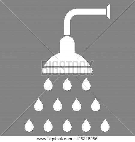 Shower vector icon. Shower icon symbol. Shower icon image. Shower icon picture. Shower pictogram. Flat white shower icon. Isolated shower icon graphic. Shower icon illustration.