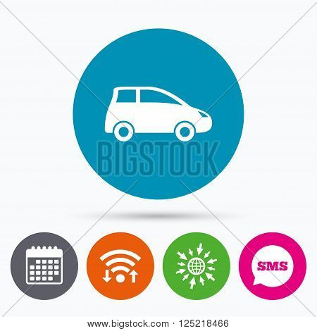 Wifi, Sms and calendar icons. Car sign icon. Hatchback symbol. Transport. Go to web globe.