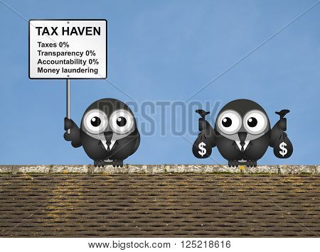 Bird businessman holding bags of money deposited in a tax haven paying no tax and shrouded in secrecy USA version