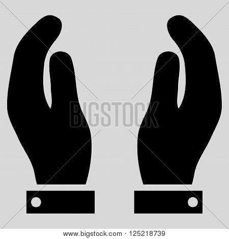 Care Hands vector icon. Care Hands icon symbol. Care Hands icon image. Care Hands icon picture. Care Hands pictogram. Flat black care hands icon. Isolated care hands icon graphic.