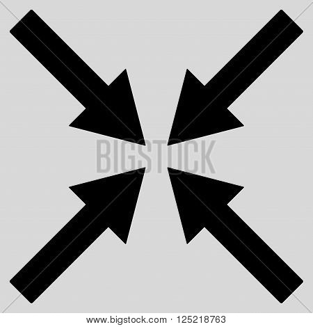 Center Arrows vector icon. Center Arrows icon symbol. Center Arrows icon image. Center Arrows icon picture. Center Arrows pictogram. Flat black center arrows icon. Isolated center arrows icon graphic.