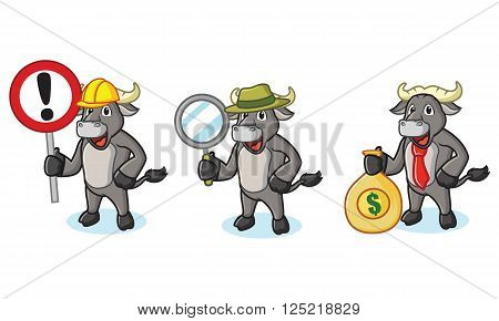 Buffalo Gray Mascot with sign, money and magnifying