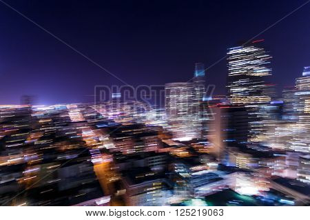 Colorful light trail of San Francisco cityscape at night