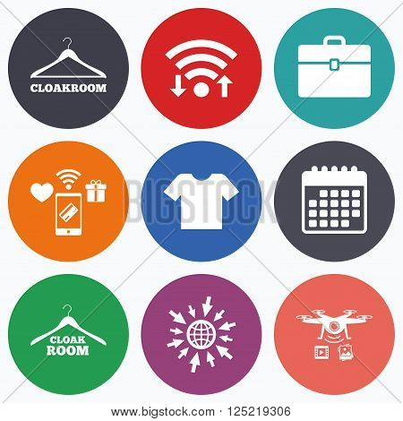Wifi, mobile payments and drones icons. Cloakroom icons. Hanger wardrobe signs. T-shirt clothes and baggage symbols. Calendar symbol.