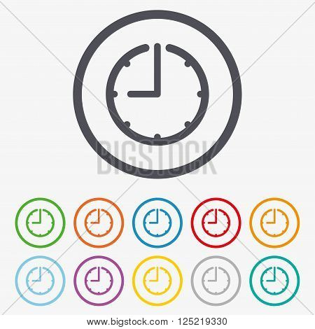 Clock time sign icon. Watch or timer symbol. Round circle buttons with frame.