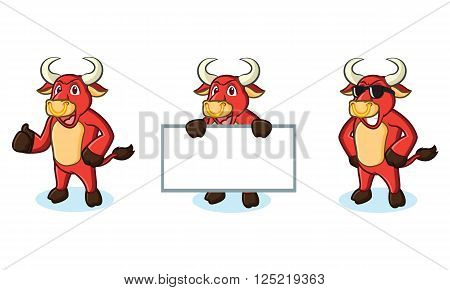 Bull Red Mascot happy, pose and bring board