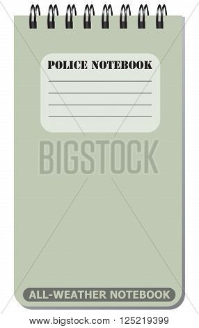 All-weather notebook used by police. Vector illustration.