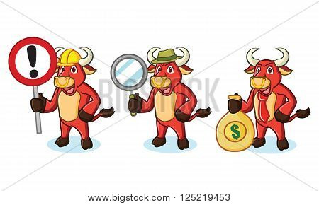 Bull Red Mascot with money, sign and magnifying
