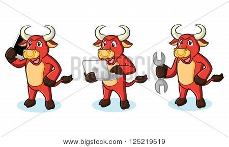 Bull Red Mascot with phone, laptop and tools