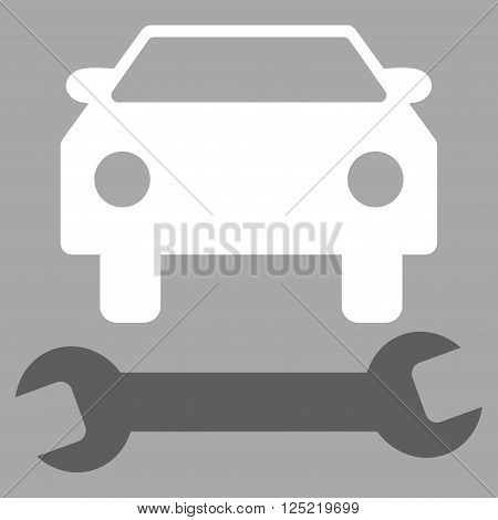Car Repair vector icon. Car Repair icon symbol. Car Repair icon image. Car Repair icon picture. Car Repair pictogram. Flat dark gray and white car repair icon. Isolated car repair icon graphic.