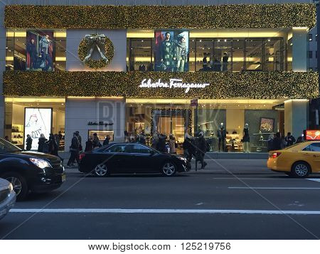 NEW YORK, NY - DEC 20: Christmas decor at the Salvatore Ferragamo flagship store on Fifth Avenue in New York, as seen on Dec 20, 2015.