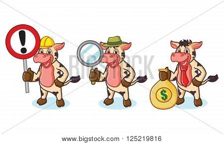Cow and Hair Mascot with money, sign and magnifying