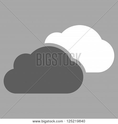 Clouds vector icon. Clouds icon symbol. Clouds icon image. Clouds icon picture. Clouds pictogram. Flat dark gray and white clouds icon. Isolated clouds icon graphic. Clouds icon illustration.