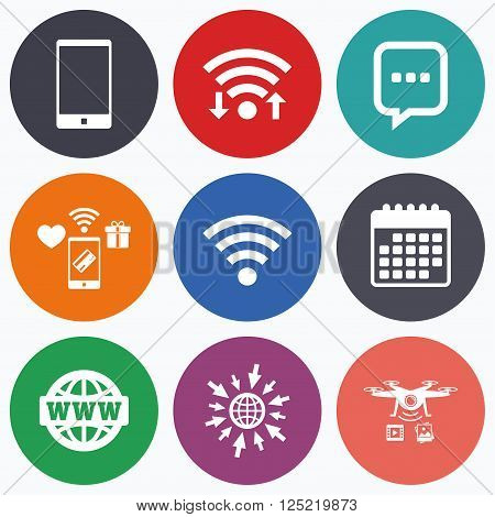 Wifi, mobile payments and drones icons. Communication icons. Smartphone and chat speech bubble symbols. Wifi and internet globe signs. Calendar symbol.