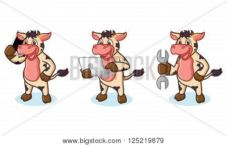 Cow and Hair Mascot with laptop, phone and tools