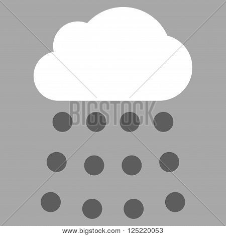 Rain Cloud vector icon. Rain Cloud icon symbol. Rain Cloud icon image. Rain Cloud icon picture. Rain Cloud pictogram. Flat dark gray and white rain cloud icon. Isolated rain cloud icon graphic.