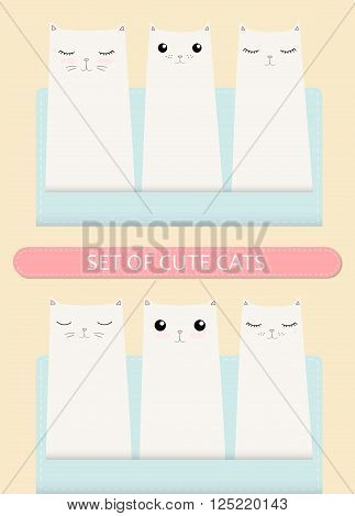 Kittens pocket greeting birthday or shower card poster concept.