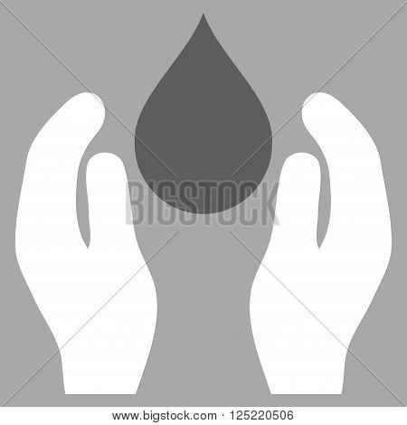Water Care vector icon. Water Care icon symbol. Water Care icon image. Water Care icon picture. Water Care pictogram. Flat dark gray and white water care icon. Isolated water care icon graphic.