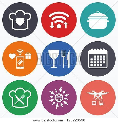 Wifi, mobile payments and drones icons. Chief hat with heart and cooking pan icons. Crosswise fork and knife signs. Boil or stew food symbol. Calendar symbol.