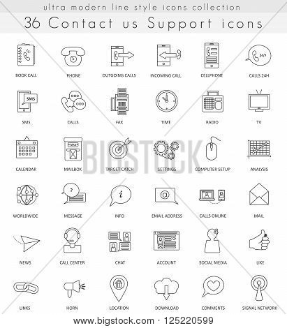 Vector Contact us Support ultra modern outline line icons for web and apps