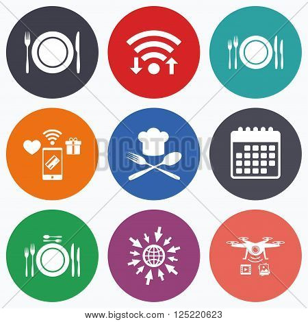 Wifi, mobile payments and drones icons. Plate dish with forks and knifes icons. Chief hat sign. Crosswise cutlery symbol. Dining etiquette. Calendar symbol.