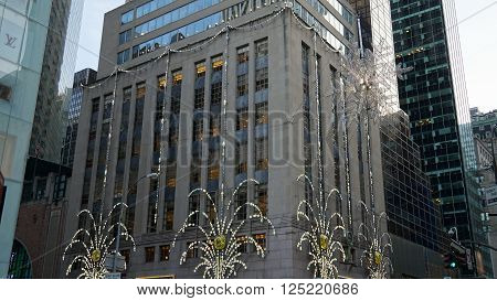 NEW YORK, NY - DEC 20: Christmas decor at Tiffany's Fifth Avenue flagship store in Manhattan, New York, as seen on Dec 20, 2015. Tiffany is renowned for its luxury goods and is particularly known for its diamond jewelry.