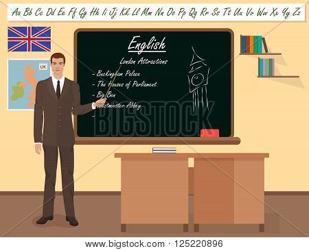 School English male teacher in audience class concept. Vector illustration
