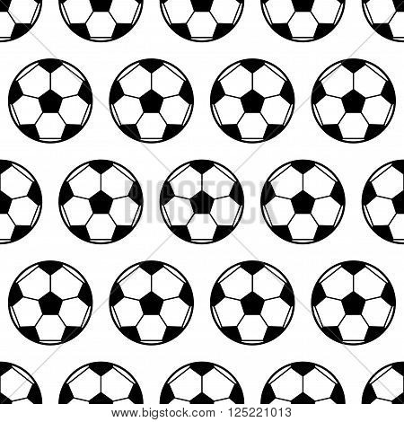 Soccer ball, black and white seamless pattern. Sports background. Vector illustration