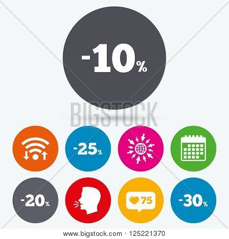 Wifi, like counter and calendar icons. Sale discount icons. Special offer price signs. 10, 20, 25 and 30 percent off reduction symbols. Human talk, go to web.