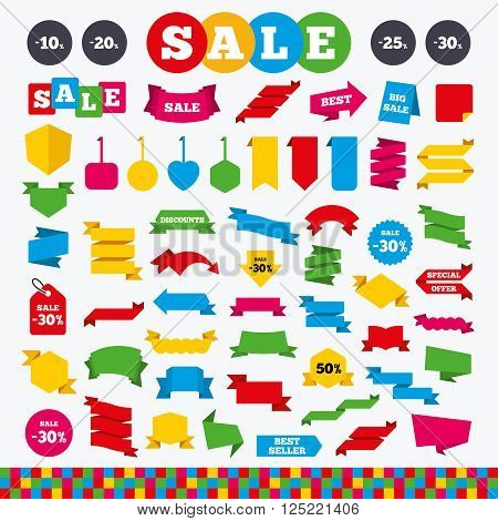 Banners, web stickers and labels. Sale discount icons. Special offer price signs. 10, 20, 25 and 30 percent off reduction symbols. Price tags set.