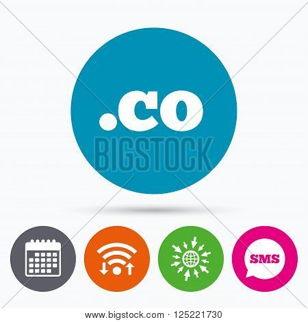 Wifi, Sms and calendar icons. Domain CO sign icon. Top-level internet domain symbol. Go to web globe.