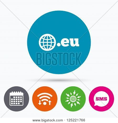 Wifi, Sms and calendar icons. Domain EU sign icon. Top-level internet domain symbol with globe. Go to web globe.