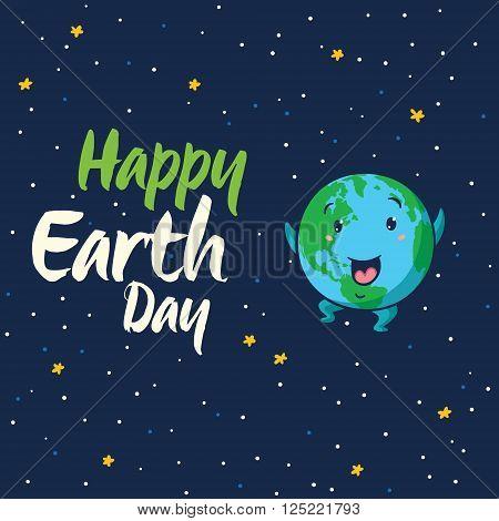 Happy Earth Day. Happy planet Earth globe on isolated dark blue background. Cute cartoon Earth globe with happy emoji. Vector illustration card
