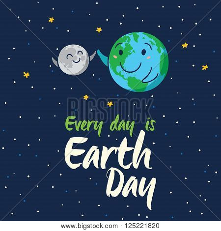 Every day is Earth Day. Happy planet Earth high five with moon. Cute cartoon Earth globe with emoji. Vector illustration card