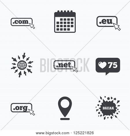 Calendar, like counter and go to web icons. Top-level internet domain icons. Com, Eu, Net and Org symbols with cursor pointer. Unique DNS names. Location pointer.