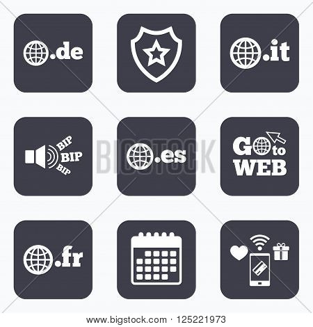 Mobile payments, wifi and calendar icons. Top-level internet domain icons. De, It, Es and Fr symbols with globe. Unique national DNS names. Go to web symbol.