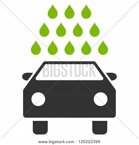 Car Wash vector icon. Car Wash icon symbol. Car Wash icon image. Car Wash icon picture. Car Wash pictogram. Flat eco green and gray car wash icon. Isolated car wash icon graphic.