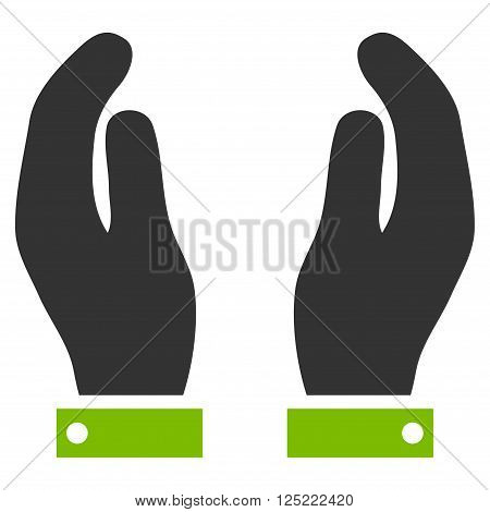 Care Hands vector icon. Care Hands icon symbol. Care Hands icon image. Care Hands icon picture. Care Hands pictogram. Flat eco green and gray care hands icon. Isolated care hands icon graphic.