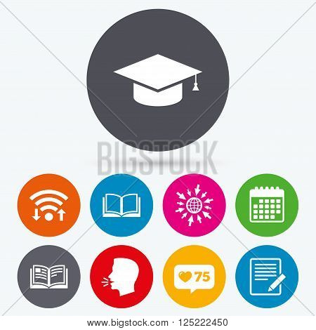 Wifi, like counter and calendar icons. Pencil with document and open book icons. Graduation cap symbol. Higher education learn signs. Human talk, go to web.
