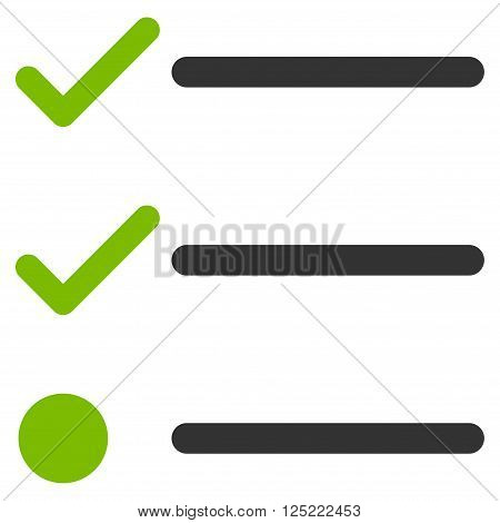 Checklist vector icon. Checklist icon symbol. Checklist icon image. Checklist icon picture. Checklist pictogram. Flat eco green and gray checklist icon. Isolated checklist icon graphic.