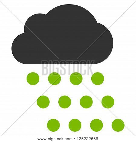 Rain Cloud vector icon. Rain Cloud icon symbol. Rain Cloud icon image. Rain Cloud icon picture. Rain Cloud pictogram. Flat eco green and gray rain cloud icon. Isolated rain cloud icon graphic.