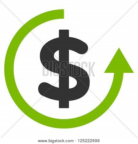 Refund vector icon. Refund icon symbol. Refund icon image. Refund icon picture. Refund pictogram. Flat eco green and gray refund icon. Isolated refund icon graphic. Refund icon illustration.