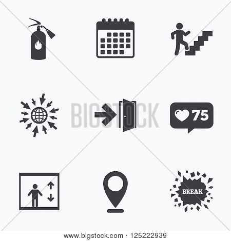 Calendar, like counter and go to web icons. Emergency exit icons. Fire extinguisher sign. Elevator or lift symbol. Fire exit through the stairwell. Location pointer.