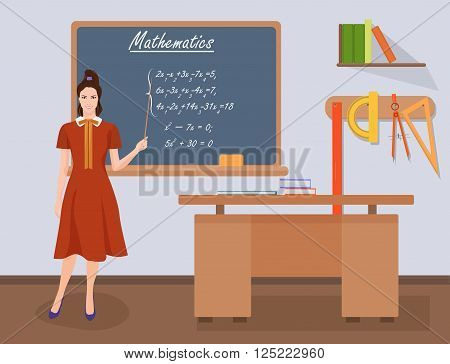 School mathematics female teacher in audience class concept. Students and teachers science and education knowledge vector illustration