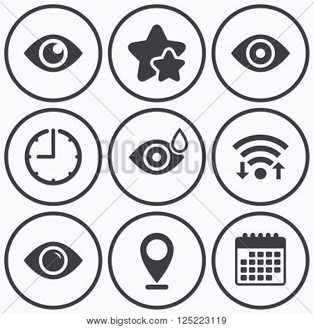 Clock, wifi and stars icons. Eye icons. Water drops in the eye symbols. Red eye effect signs. Calendar symbol.